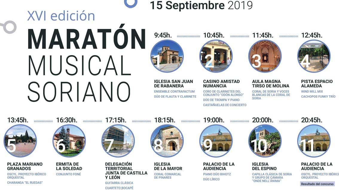 Y el domingo 15, el esperado XVI Maratón Musical Soriano